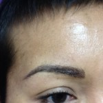 Eyebrows with hair stroke, after procedure.